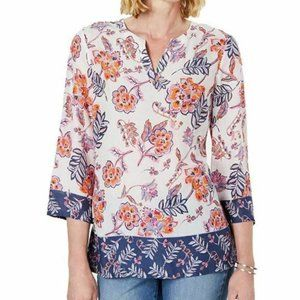 Charter Club L White Floral Mixed Top NWT M79